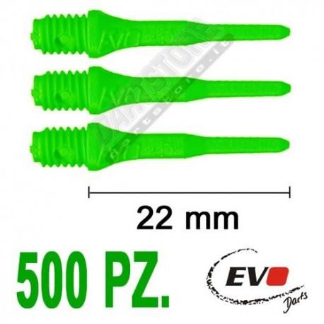 punte in plastica per freccette soft darts Evo Originali - 500 pz. - Verdi fluo Evolution