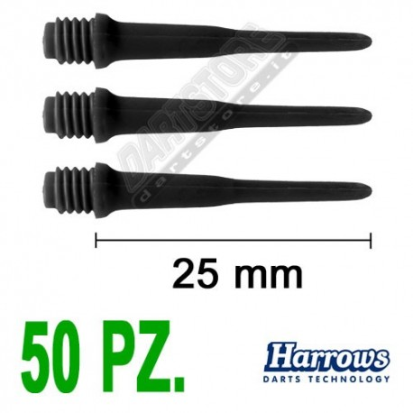 punte in plastica per freccette soft darts Pro Tips - 50 pz. - Nere Harrows Darts