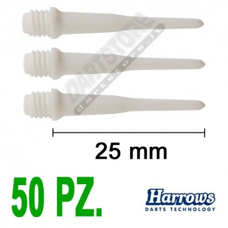 punte in plastica per freccette soft darts Pro Tips - 50 pz. - Bianche Harrows Darts