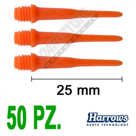 punte in plastica per freccette soft darts Pro Tips - 50 pz. - Arancio Harrows Darts